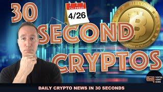 THE BITCOIN AND CRYPTO MARKET IN 30 SECONDS FOR MONDAY 4/26