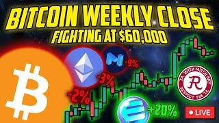 BITCOIN LIVE : BTC WEEKLY CANDLE CLOSE STREAM