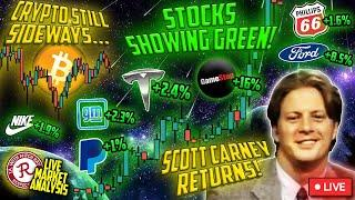 BITCOIN LIVE : SCOTT CARNEY HANGOUT, CRYPTO STILL FINDING DIRECTION