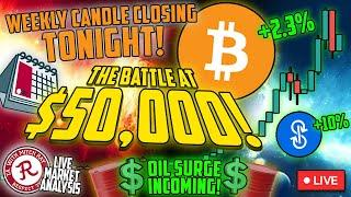 BITCOIN LIVE : THE BATTLE FOR $50,000. WEEKLY CANDLE CLOSE