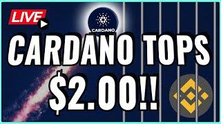 Cardano Price Eclipsed $2!! + Binance under FIRE from the IRS! Coffee N Crypto Live