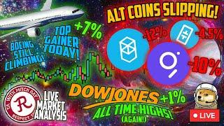 BITCOIN LIVE : DOW JONES/RUSSEL 2000 ATH! ALTCOINS SLIPPING