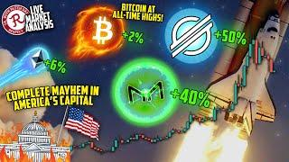 BITCOIN LIVE : BTC ALL TIME HIGHS! MKR UP 40%, XLM UP 50+%!
